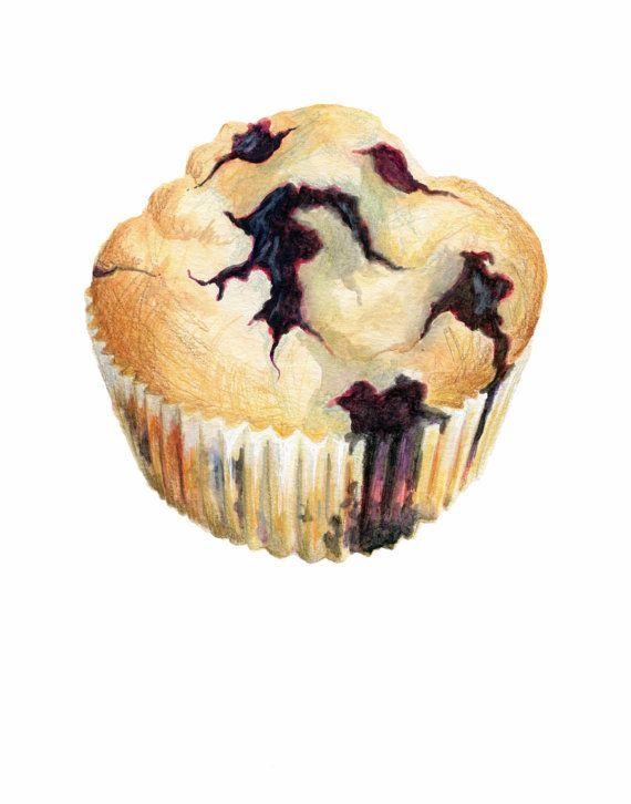 Muffin de arándano / / Original ilustración de por KendyllHillegas, $20.00