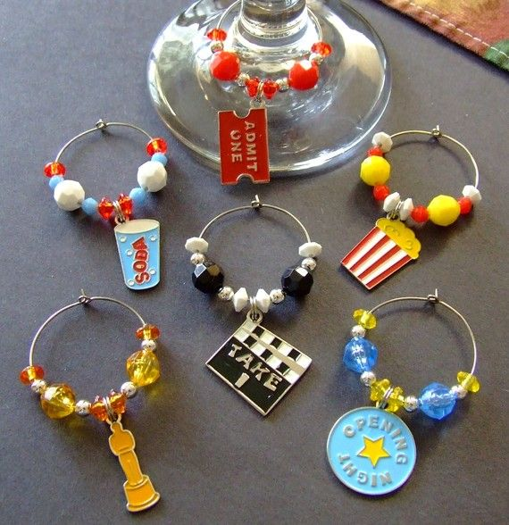 Set of 6 Beaded Wine Glass Charms Featuring AT THE MOVIES Enamel Metal Charms