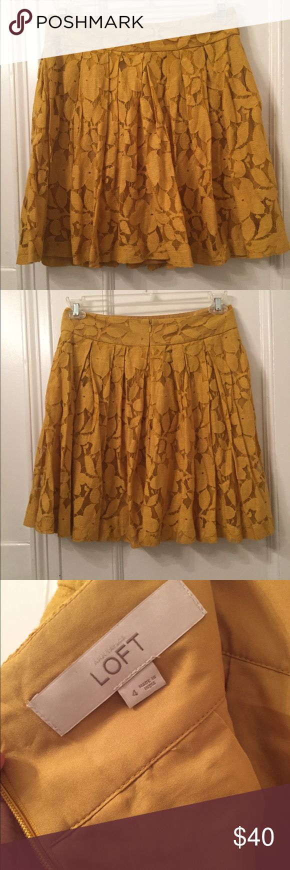 Loft Flower Lace Pleated Skirt Mustard Yellow 4 Mustard yellow Lace pleated skirt with flower pattern. Looks great with a chambray shirt and sandals or boots. Zipper back. LOFT Skirts Circle & Skater