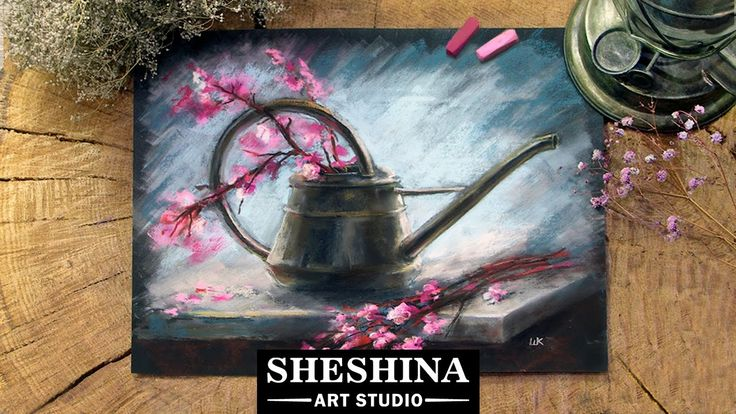 How to draw an old watering can and blossoming branches with soft pastels_Sheshina Ekaterina