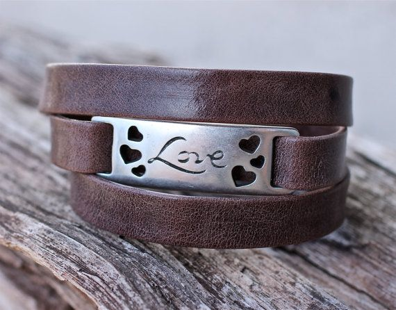 Italian Leather Triple Wrap Bracelet Love Gift Cool Mom by amyfine