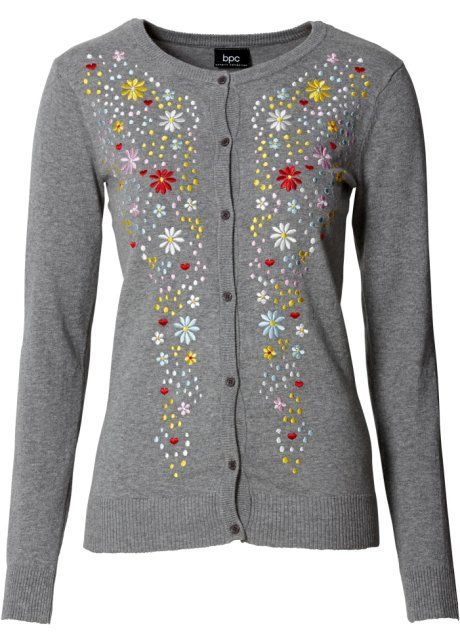 Trachten-Strickjacke mit Stickerei und langem Arm, bpc bonprix collection, grau meliert