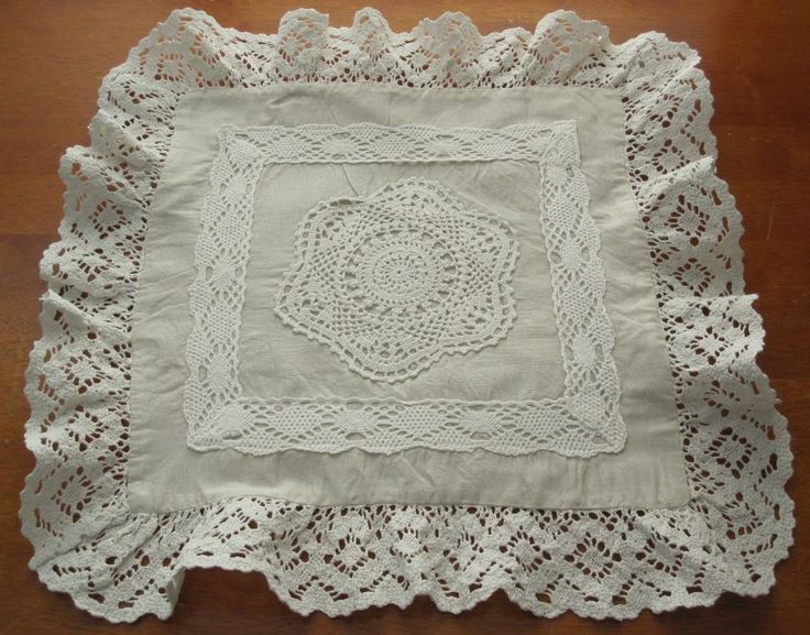 Vintage Crochet / Fabric Display Cushion Cover in Antiques, Textiles, Linens, Other Textiles, Linens | eBay SELLER ID: kathy_a1