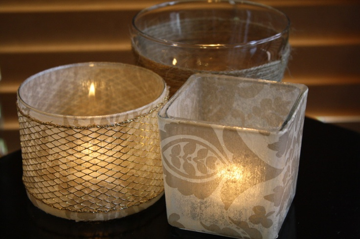 DIY candle holders using twine, ribbon, or tissue paper
