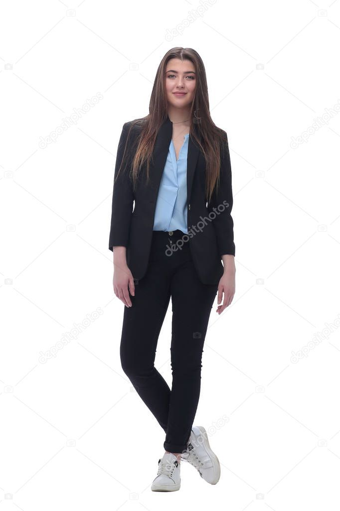 Young Business Woman In Business Clothes Isolated On White Stock Photo Sponsored Woman Clothes Young Business Ad Business Outfits Business Women