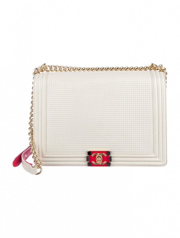 Chanel Cube Boy Jumbo Flap Bag with red leather accents, gold-tone hardware and chain-link shoulder straps