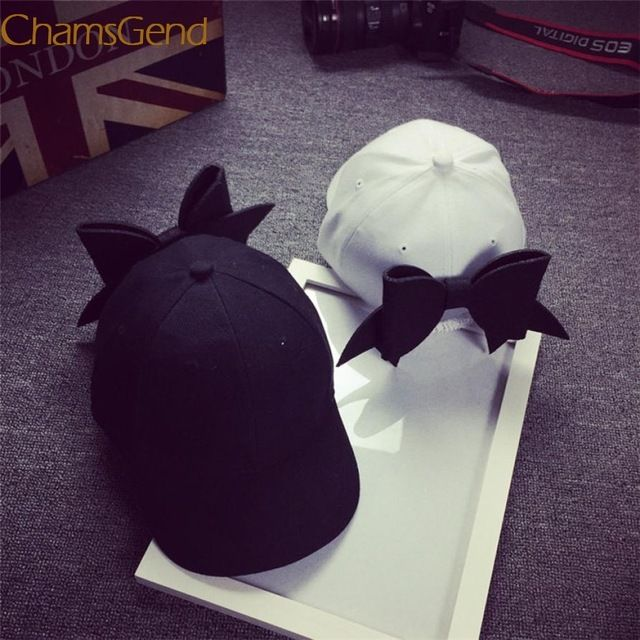 Durable 2017 Summer Style Caps Baseball Caps Fashion casquette Adjustable Hip Hop  Solid Bow Girl Cap Snapback Hip Hop Cap #CHAMSGEND #baseball-caps #women_clothing #stylish_baseball-caps #style #fashion