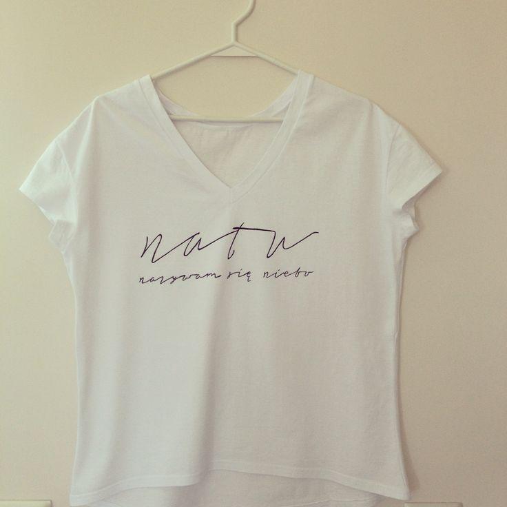 """""""natu nazywam się niebo"""" koszulka ręcznie malowana"""