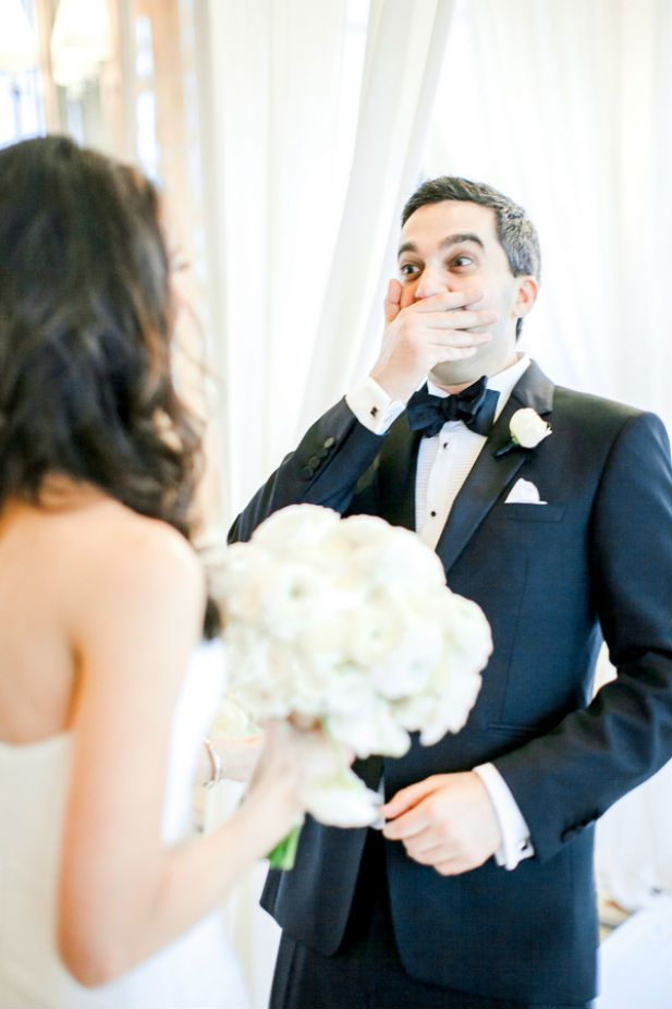The best groom reaction to seeing the bride for the first time!! (Photo by Vivian N Photos)