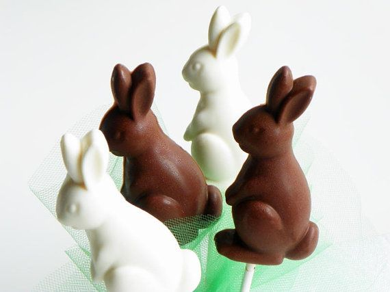 Chocolate Bunny Rabbit Lollipop by cocoaconfections on Etsy....in the spirit of Easter...