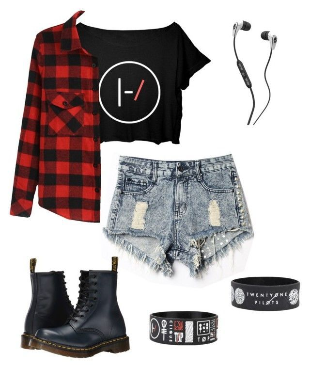 """Twenty-One Pilots for Life"" by rose-okeeffe on Polyvore featuring Dr. Martens, Skullcandy, women's clothing, women's fashion, women, female, woman, misses and juniors"