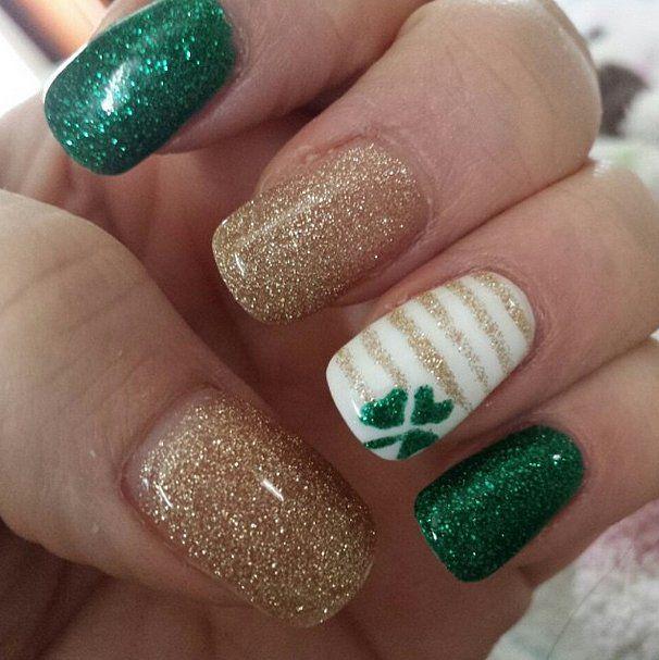 Glittery Green Shamrock and more St. Patrick's Day Nail Art Ideas