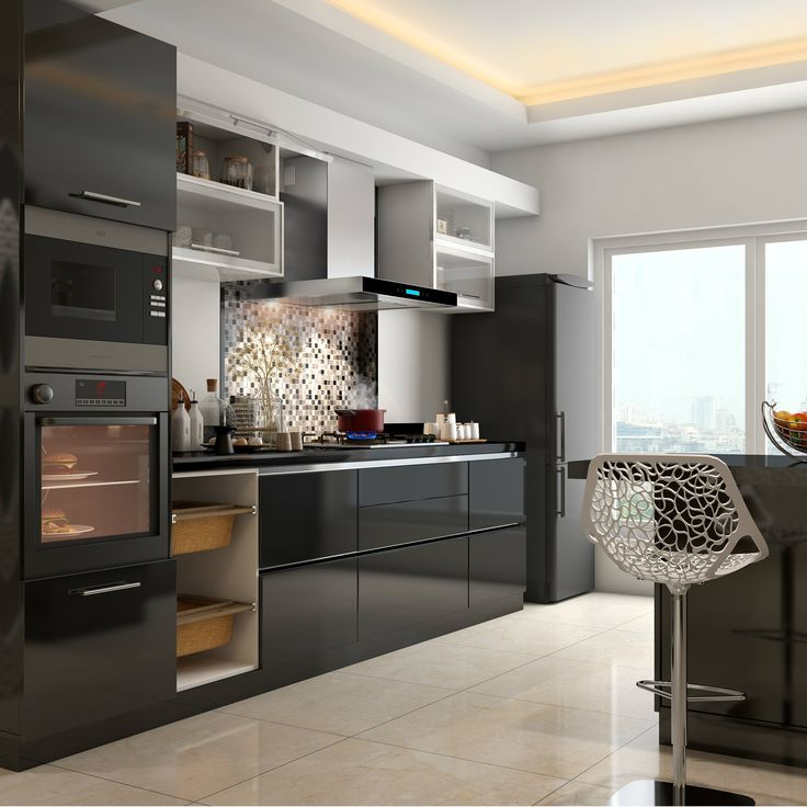 A Sleek Black Modular Kitchen With Built In Appliances