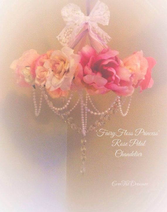 Fairyfloss Princess rose petal chandelier mobile shabby chic baby nursery girls bedroom decor handmade on Etsy, $94.94 AUD