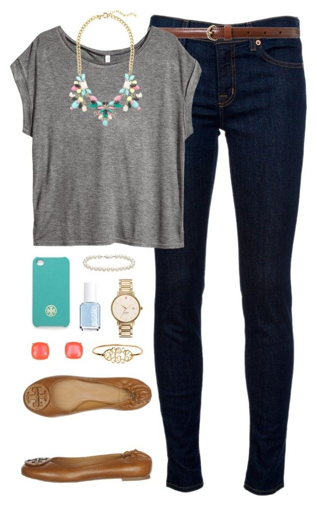 """Bejeweled"" by classically-preppy ❤ liked on Polyvore featuring J Brand, Lauren Ralph Lauren, H&M, J.Crew, Tory Burch, Kate Spade, Essie and Blue Nile"