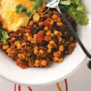 Slow cooker tamale pie. I make this one at least twice a month, sometimes using ground turkey and beef bouillon.