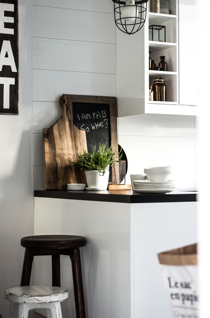Kitchen scandinavian Wood black white