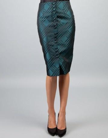 CARAMELO | falda tubo rombos/rayas aguamarina