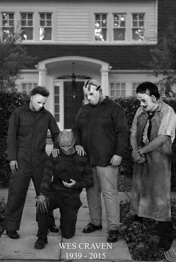 Our modern monsters consoling Freddy, who has to celebrate his first Halloween without his father this year. R.I.P. Wes Craven