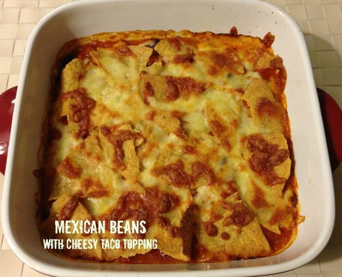 Serves 4 These Mexican Beans are great on their own served with some rice or tacos on the side but they're super great with this tasty taco-cheesy topping. It's cheap, easy and mexi-magic! I made ...
