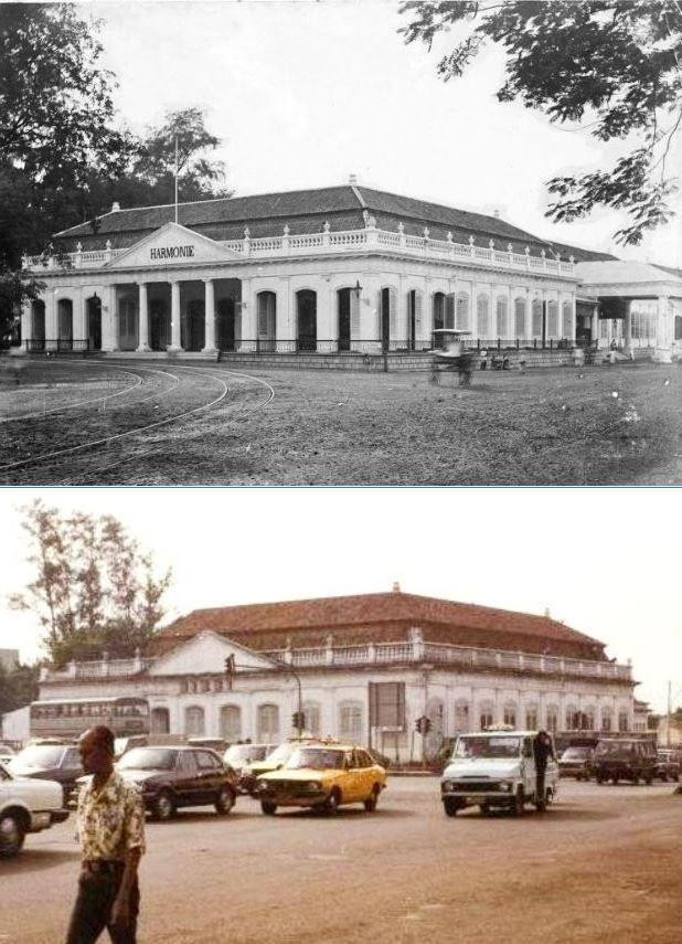 Sociëteit De Harmonie te Batavia, 1900, ,., Gedung Wisma Nusantara, Jakarta, mulai dibongkar, 1985