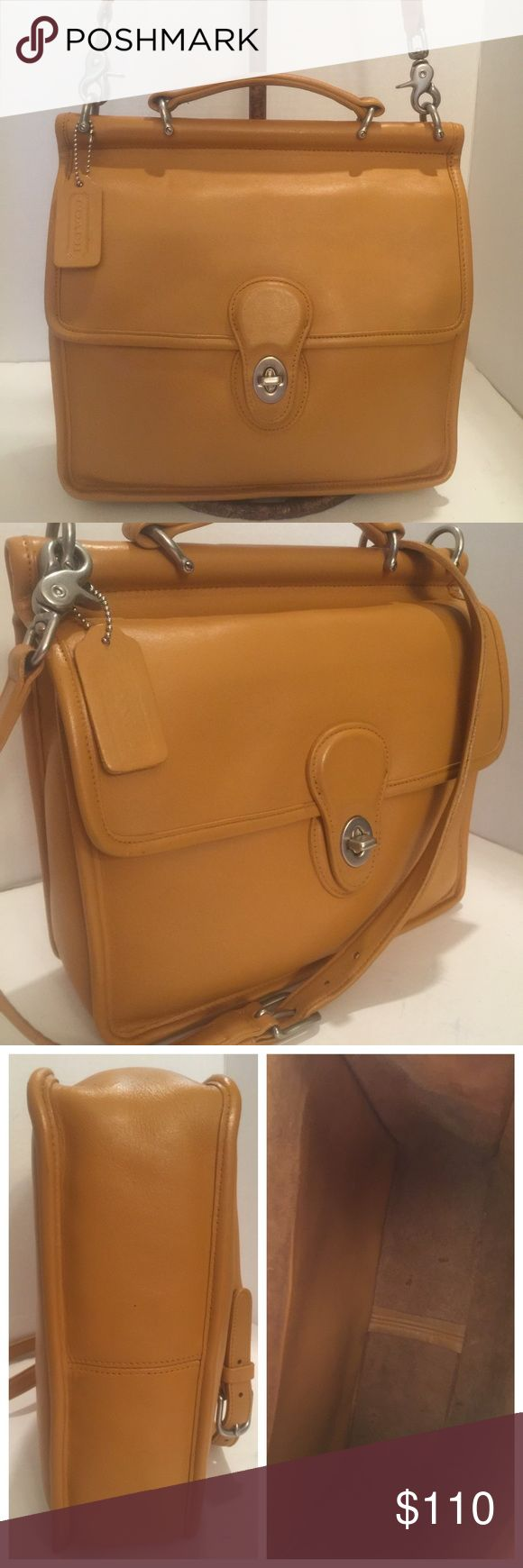 Authentic Classic Coach Willis Bag This is  Classic Willis in a Camel glove tanned leather and Nickel hardware. Excellent restored condition. This bag has a top handle as well as an adjustable crossbody strap. Full slip pocket on the back of the bag as well as under the flap. Inside has an amazing amount of space and has another pocket with a zipper for privacy. Made in Costa Rica #M1P-9927 Coach Bags Crossbody Bags