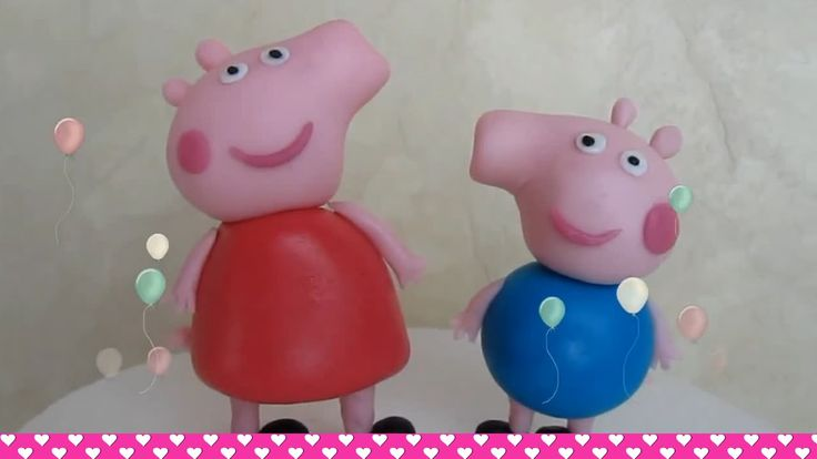 How to make Fondant Peppa Pig and George cake topper figurines - ENGLISH