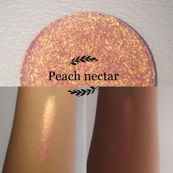 Welcome to Enchanted lustre! Where all items are hand made and made to order ❤️  35mm or 26mm pan only:   Peach nectar - the lustrous juice has been extracted from this enchanted pink-orange-golden fruit.   All ingredients in our eyeshadows are vegan (except red/rust colours), cruelty free, paraben free, talc free, highly pigmented, natural and blendable. Ingredients - Mica, propyl alcohol, coconut oil, purified vitamin E oil, vegetable glycerin, maizena, phenoxyethenol & ethylhexyglycerin…