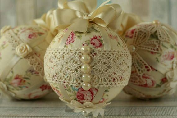 These fabric and lace baubles makes a stunning addition to Shabby chic Christmas decorations. The handmade set of ornaments will look gorgeous hung from any Christmas tree and they make unusual Christmas gifts too. For anywhere that needs a touch of elegance over the festive season,