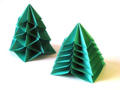 Origami, diagrams: Bialbero di Natale - Double Christmas tree