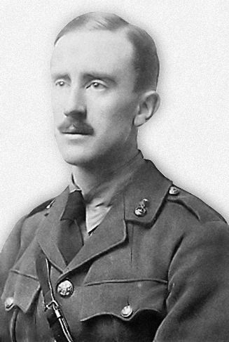 """J. R. R. Tolkien, Second Lieutenant in the Lancashire Fusiliers, 1916. Tolkien served as a signals officer at the Somme, participating in the Battle of Thiepval Ridge & the subsequent assault on the Schwaben Redoubt. In late October of 1916 Tolkien came down with trench fever, a disease carried by the lice which were common in the dugouts and was invalided home to England in November of the same year.  """"Gentlemen are rare among the superiors, and even human beings rare indeed."""""""
