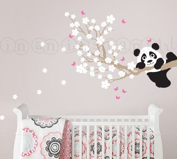 Panda and Cherry Blossom Branch with Butterflies by InAnInstantArt, $41.00