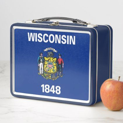 Metal Stainless Lunchbox with Wisconsin flag - kids kid child gift idea diy personalize design