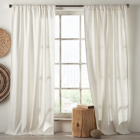 Living room - curtains - Linen Cotton Window Panel – White + Ivory | west elm