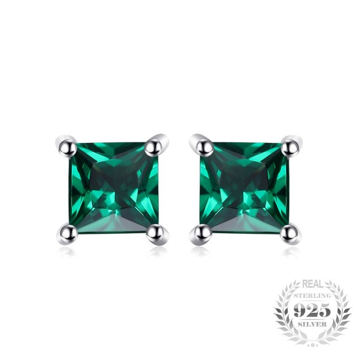 Square Created Emerald Sterling Silver Stud Earrings // Price: $12.95 & FREE Shipping //  We accept PayPal and Credit Cards.    #jewelry #jewelrygram #fashionjewelry #jewelrydesign #instajewelry #jewelrydesigner #jewelryforsale #jewelrylover #jewelrymaking #q80 #jewelryoftheday #jewelryaddict #handmadejewelry #q8statigram #fuj #hermestwilly #finejewelry #showmeyourrings #jotd #jewellery #earrings #q8girls #hermesbelts #jewels #gemstone #gems #jewel