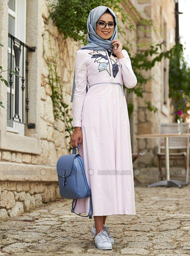 Tina Cotton Nakışlı Elbise - Açık Pembe - Mevra