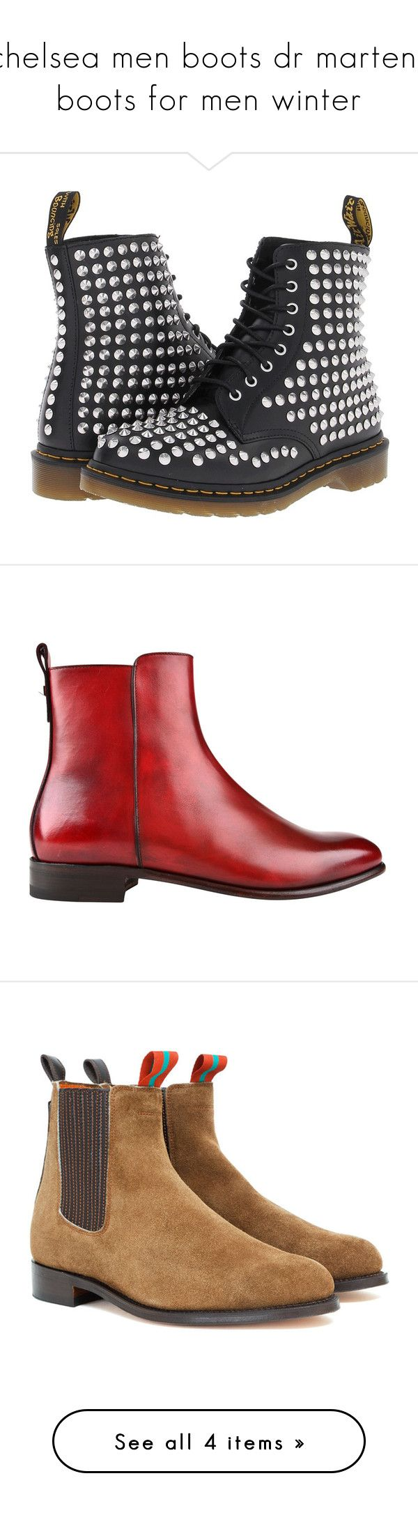 """chelsea men boots dr martens boots for men winter"" by romalegotskills ❤ liked on Polyvore featuring shoes, boots, ankle booties, ankle boots, black, black studded booties, black bootie, dr martens boots, black studded boots and black ankle boots"