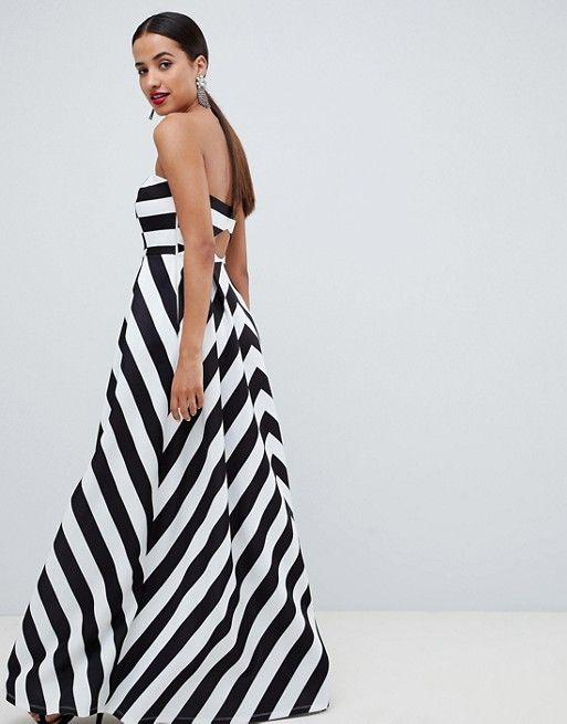 20e90356f5e6 DESIGN stripe bandeau prom maxi dress | Clothes | Dresses, Fashion, ASOS