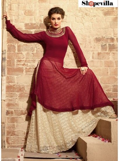 Maroon Marriage Wear Anarkali Suit With Georgette Material-3109