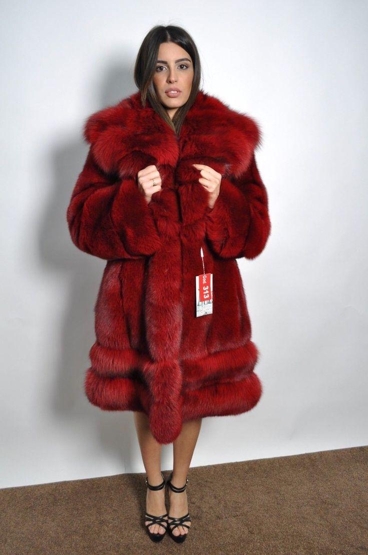 BLUE-FOX FUR LONG COAT CLAS CHINCHILLA SABLE MINK SILVER JACKET LYNX   eBay