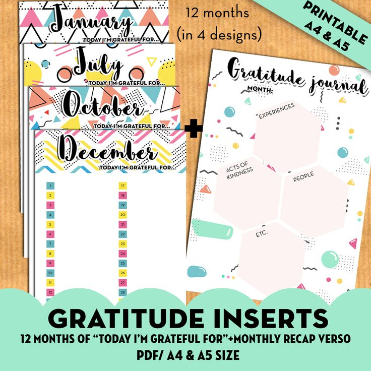 Free printable: gratitude planner inserts to write what you are thankful for everyday. Perfect for A5 planners. More planner freebies on lovelyplanner.com