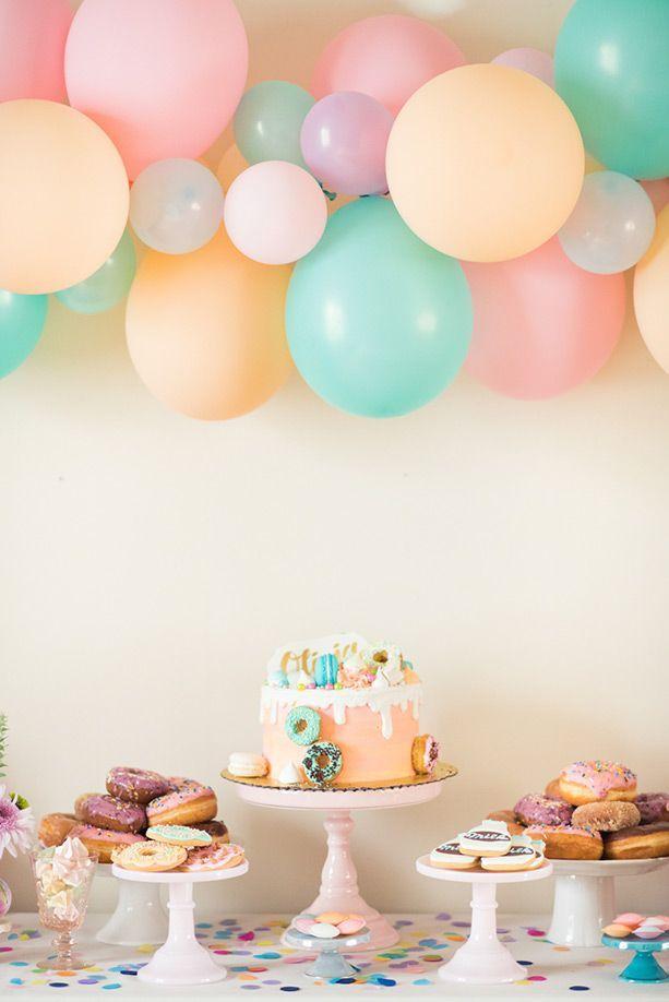 Pastel donut third birthday party