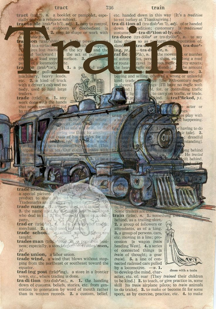 Vintage Train Mixed Media Drawing on Distressed, Dictionary Page -- Click through for an Etsy shop where dictionary pages are used as the canvas for mixed media drawings
