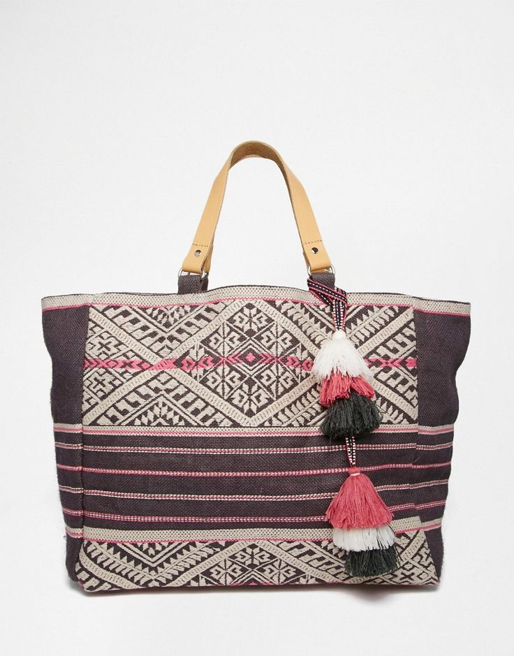 Star+Mela+Tote+Bag+with+Grey+and+Pink+Embroidery+and+Leather+Handles