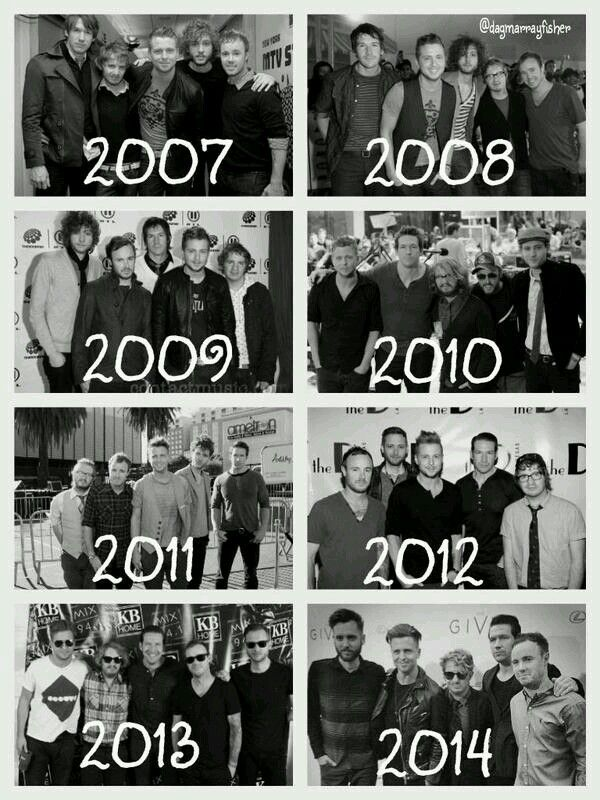 OneRepublic over the years :)and look at how his hair has changed lol