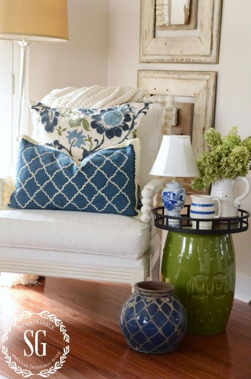 LAYERING DECOR-llayered for a more interesting look-stonegableblog.com. Love this color mix.