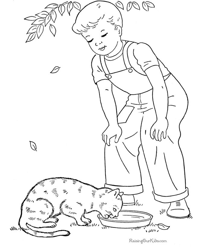 Kid Coloring Page Of Cat