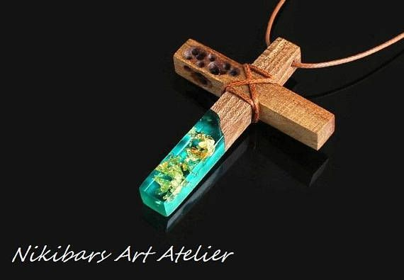 Wood Resin Cross  Resin Gold Leafs Cross Necklace  Cross