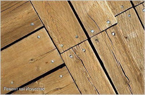 Как заделать щели в полу.  Деревянный пол рассохся и между половицами появились щели, а вам недосуг взяться за большой ремонт и наконец перестелить пол? Заделать щели между половицами можно и более простыми способами.  Необходимые материалы и инструменты: веревка или шпагат столярный клей обрезки линолеума ацетон деревянные планки клей молоток  Процесс: 1 вариант: Веревку промажьте столярным клеем и плотно забейте ее в щели. Дайте полу сутки просохнуть. Из кусочков безосновного масляного…