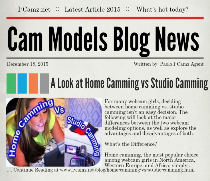 "LATEST www.i-camz.net WEBCAM MODELS BLOG NEWS - Check ""Home Camming vs Studio Camming - What's the Difference"" - http://go.shr.lc/1OeLuQV - A Look at the major differences between Home Camming vs Studio Camming and find out which one is more profitable.  #cammodels #camjobs"
